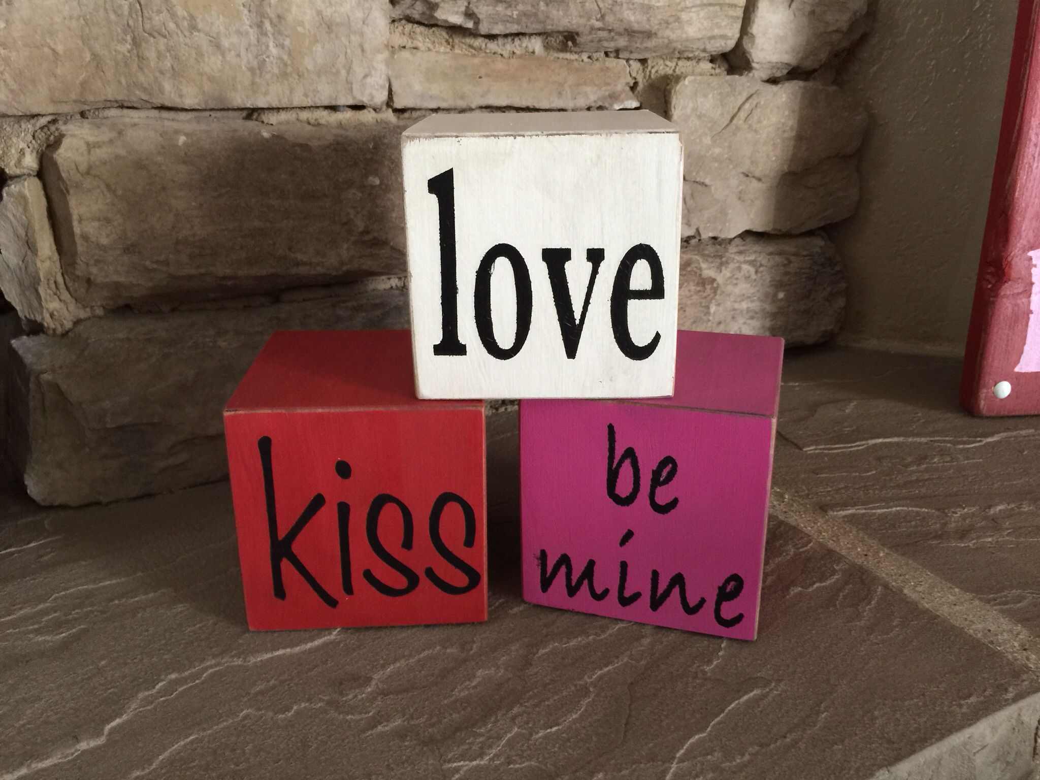 Valentine blocks, set of 3 wood cubes