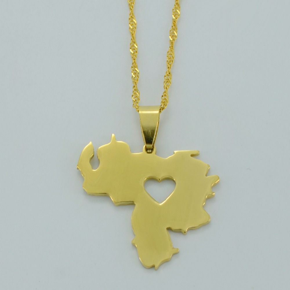 Venezuela pendant necklace for womenmen yellow gold plated