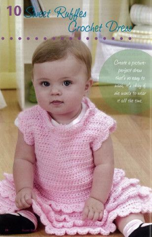 Pink Crocheted dress with ruffles - Super Baby girl