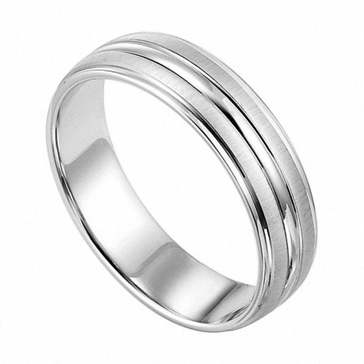 Men S 6 0mm 18k White Gold And Platinum Wedding Band Zales In 2020 Mens Wedding Bands Platinum Platinum Wedding Band Wedding Bands