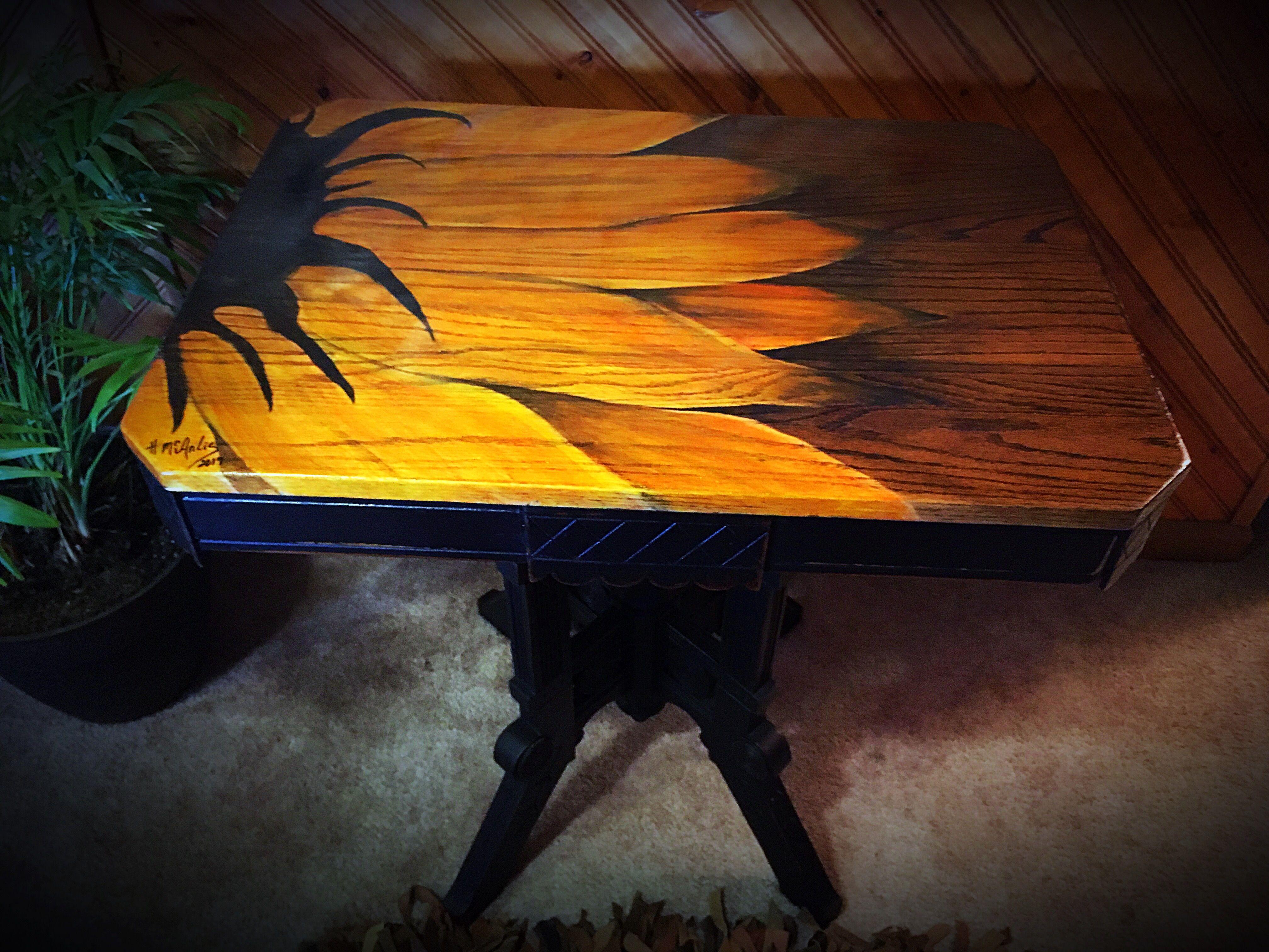 Sunflower Table Custom Freehand Wood Stain Unicorn Spit
