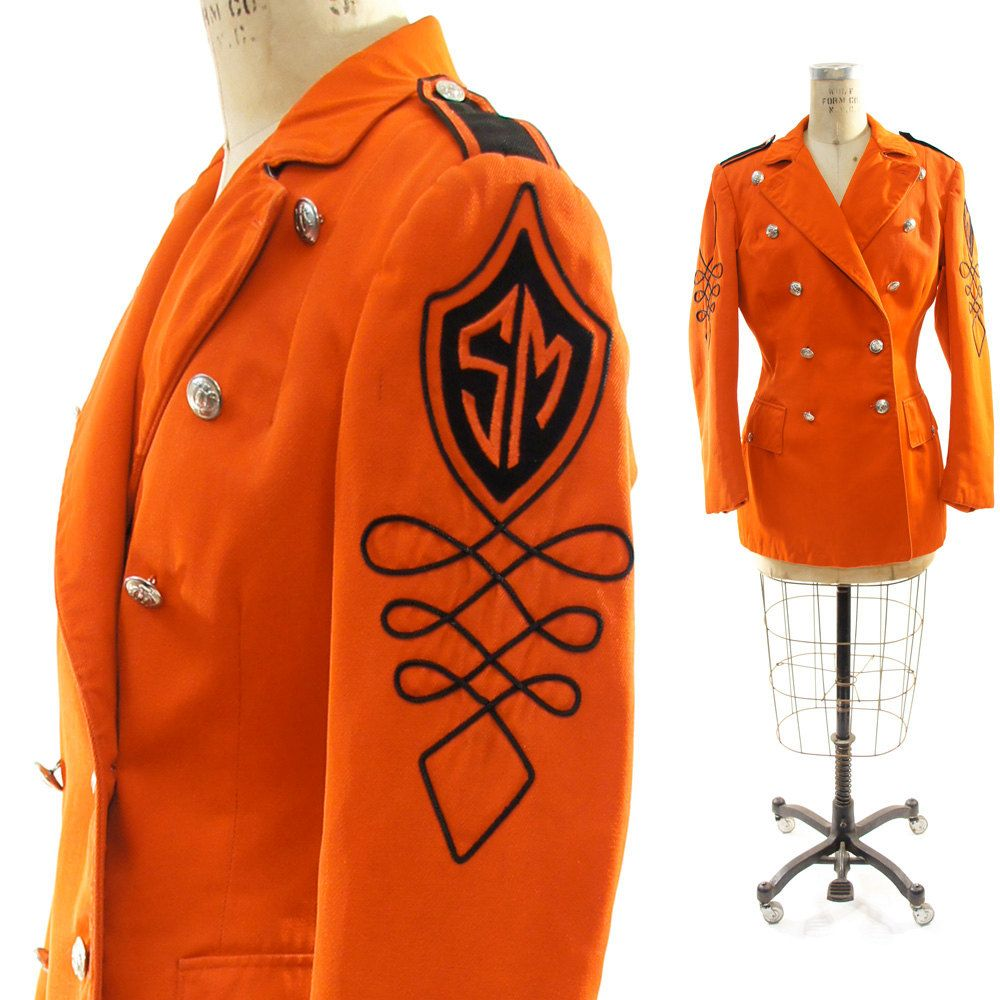 So cool!!!!!  70s Sargent Pepper Marching Band Jacket in Tangerine and Black. $64.00, via Etsy.
