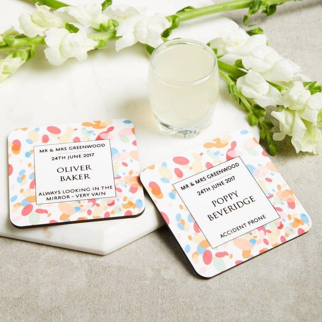 Personalised Confetti Wedding Favour Guest Coasters | Confetti ...