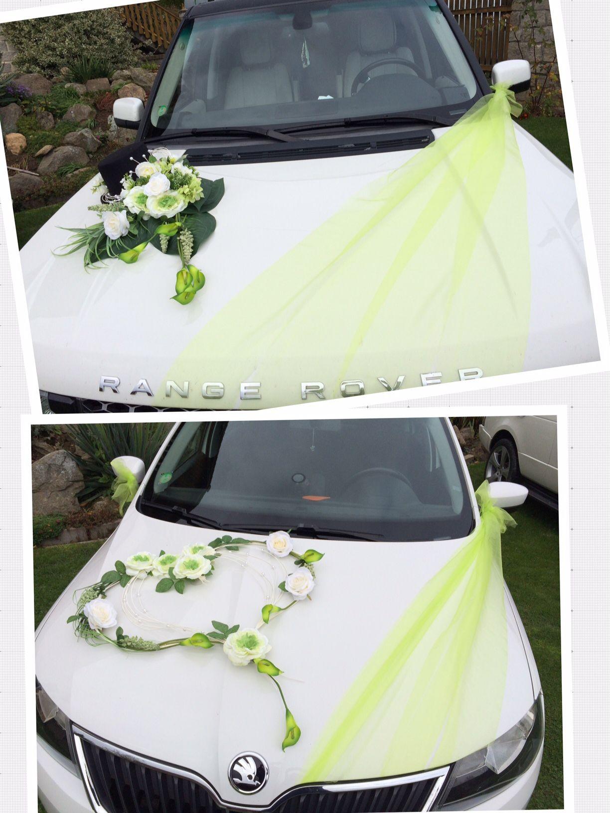 Nadherna Svatebni Dekorace Na Auto V Bilo Zelene Barve Svatba