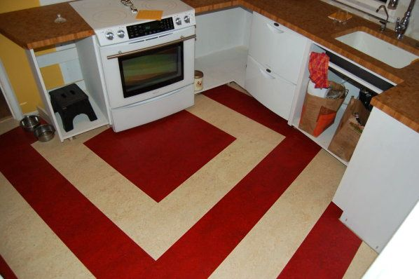 Red And White Marmoleum Click Kitchen Flooring View Looking At Oven