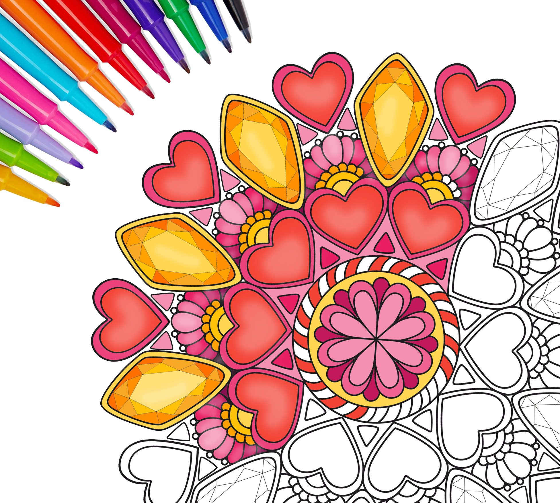 valentine\'s coloring pages.mandala coloring page,adult coloring ...
