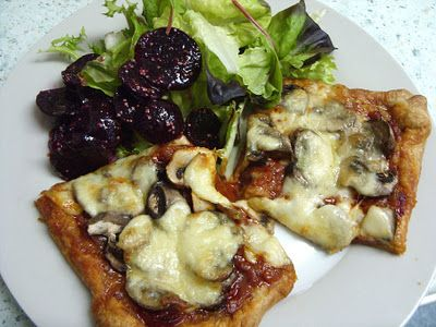 Jenny Eatwell's Rhubarb & Ginger: Pizza Tart - or Chorizo, Mushroom & Mozzarella Tart, if you like!