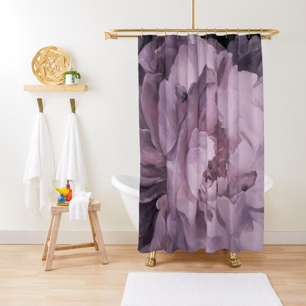 Petals In Lavender Shower Curtain Curtains Lavender Shower