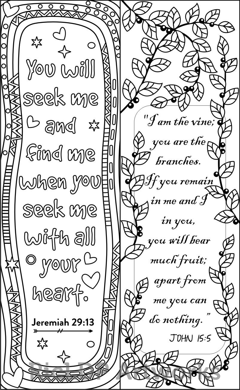 8 Bible Verse Coloring Bookmarks Ricldp
