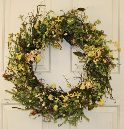 Yellow Brook Silk Spring Front Door Wreath 22 In In 2020 Floral Door Wreaths Spring Front Door Wreaths Summer Door Wreaths
