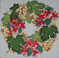 Dede's Needleworks ED-1350 Gold Grapes & Fuchsias 16 x 16, 13g