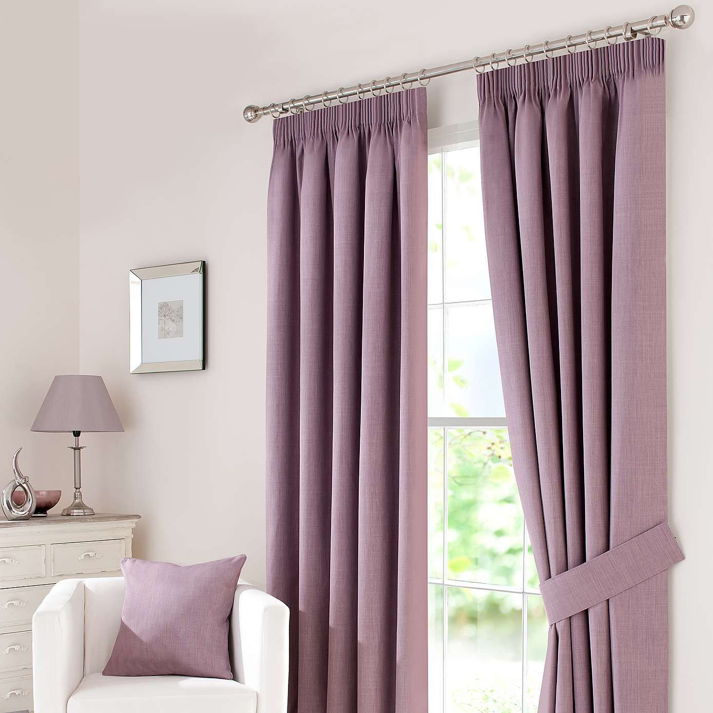 Blackout curtains for bedroom - Mauve Solar Blackout Pencil Pleat Curtain Dunelm