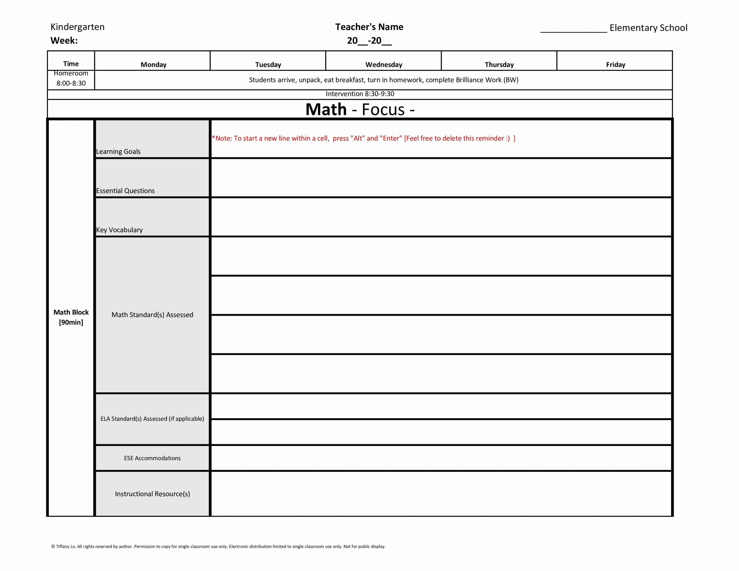 Elementary Math Lesson Plan Template New Kindergarten