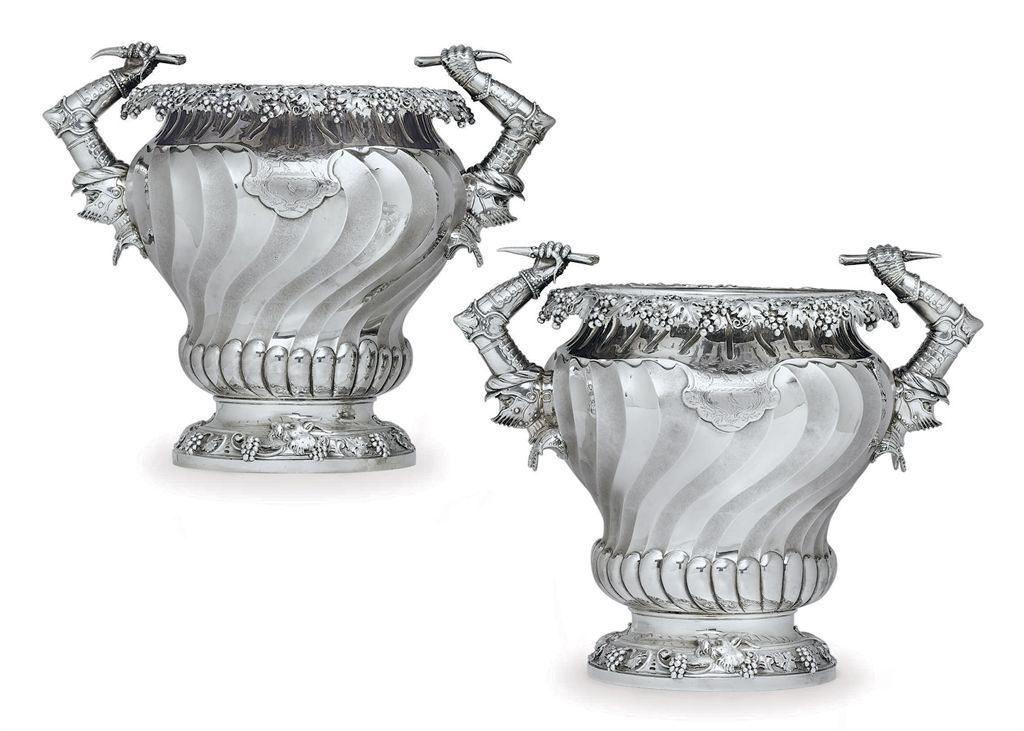 PAIR OF GEORGE IV SILVER WINE COOLERS , MARK OF PAUL STORR, LONDON ...
