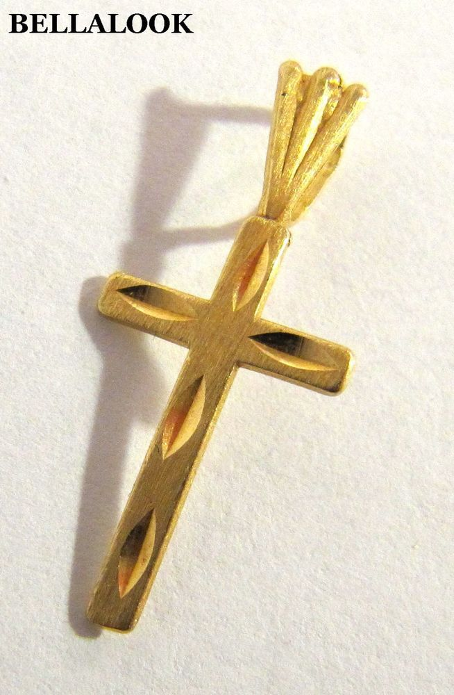 Beauniq 10k Yellow Gold 3D Look Cross Pendant Necklace
