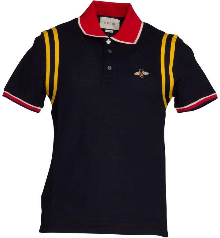 5de2c40712a Gucci Cotton Polo With Bee In Blue in 2019