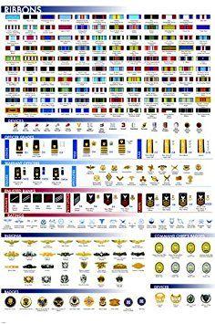Military facts chart poster ribbons insignia badges rare hot new