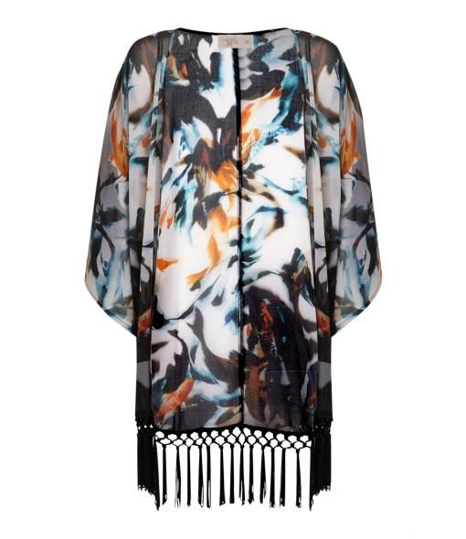 Label Lab Fishy print georgette kimono, Multi-Coloured