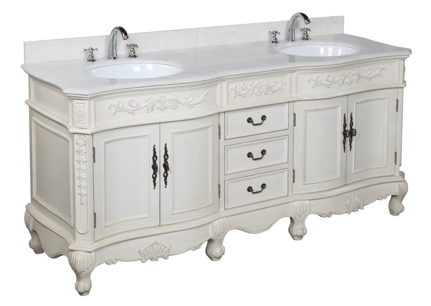 versailles 72-inch bathroom vanity with marble counter, sinks and