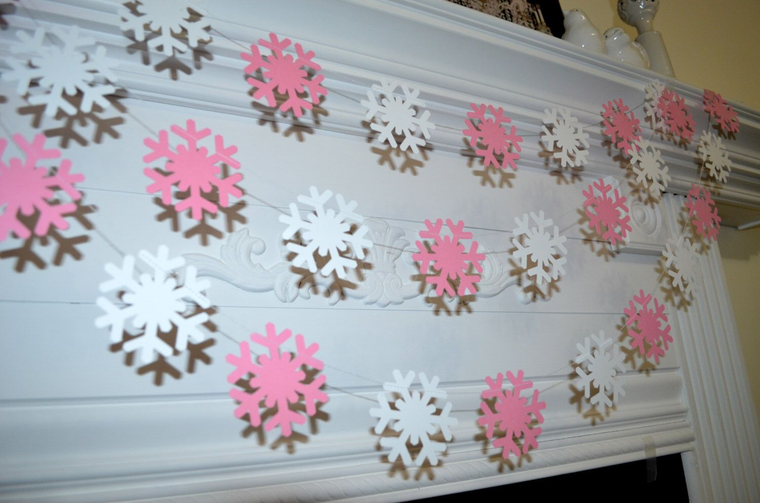 Pink snowflake garland, pink Christmas garland, snowflake banner, Pink Christmas decor, baby girl Christmas room decor Shabby chic Christmas by DCBannerDesigns on Etsy https://www.etsy.com/listing/212218310/pink-snowflake-garland-pink-christmas