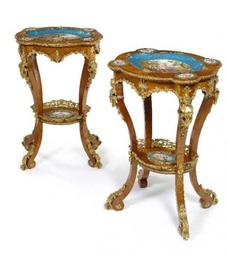 A fine pair of ormolu and Sevres style porcelain mounted side tables. France, c.1870