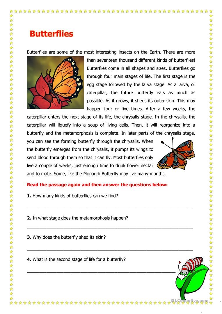 Butterflies English Esl Worksheets For Distance Learning And Physical Classrooms Reading Comprehension Worksheets Reading Comprehension Science Worksheets [ 1079 x 763 Pixel ]