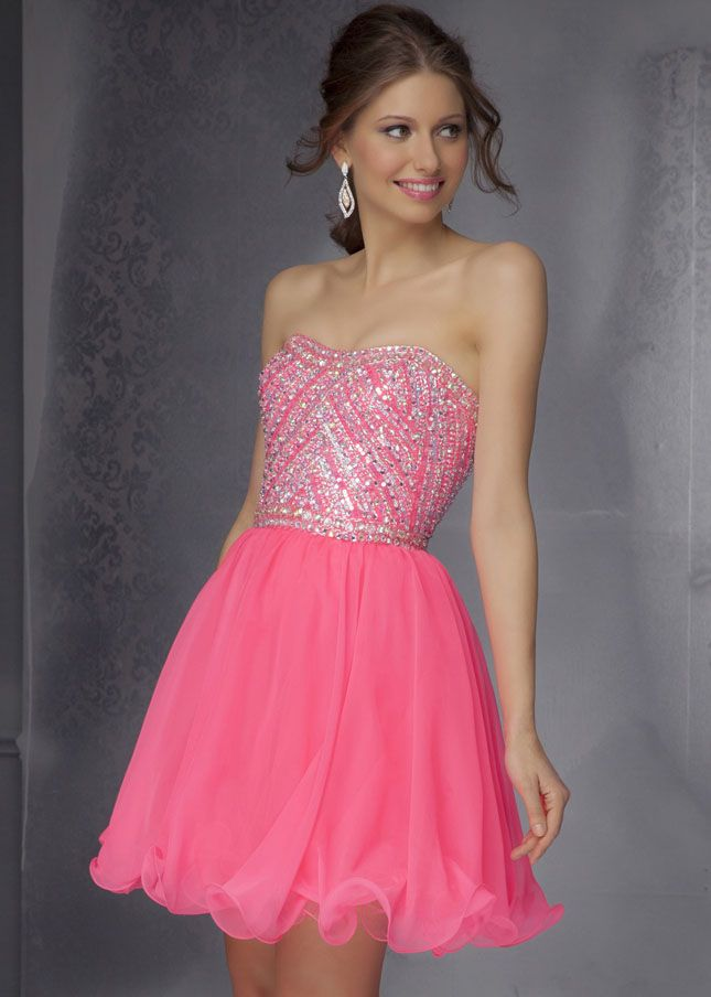 Ruffled Short Neon Pink Beaded Strapless | A Dress for Christmas ...
