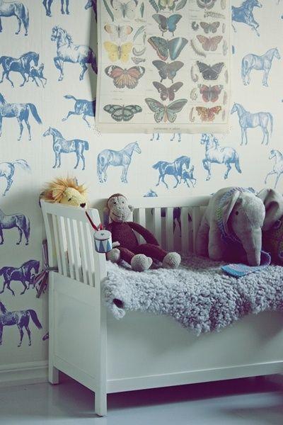 Wallpaper - Blue Horses in kids room or nursery