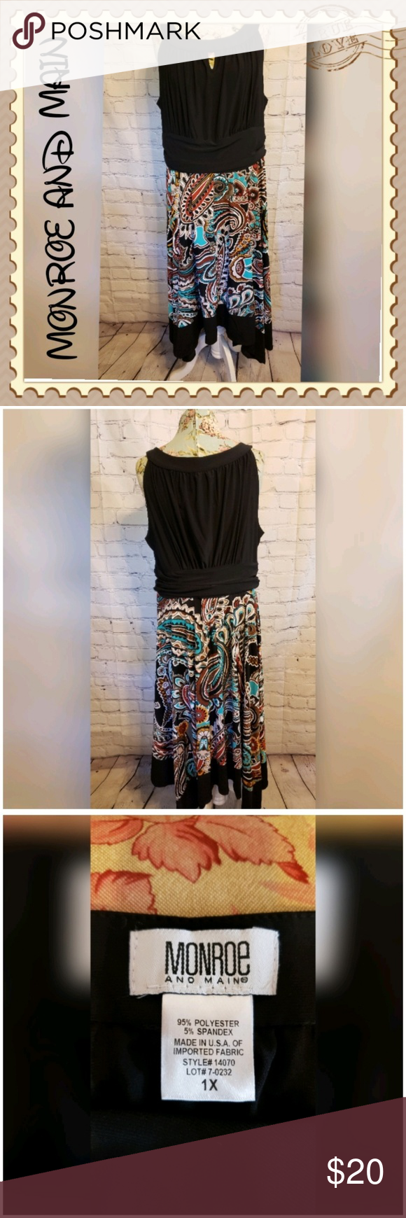 Monroe & Main Black Multi Colored Sleeveless Dress #blacksleevelessdress