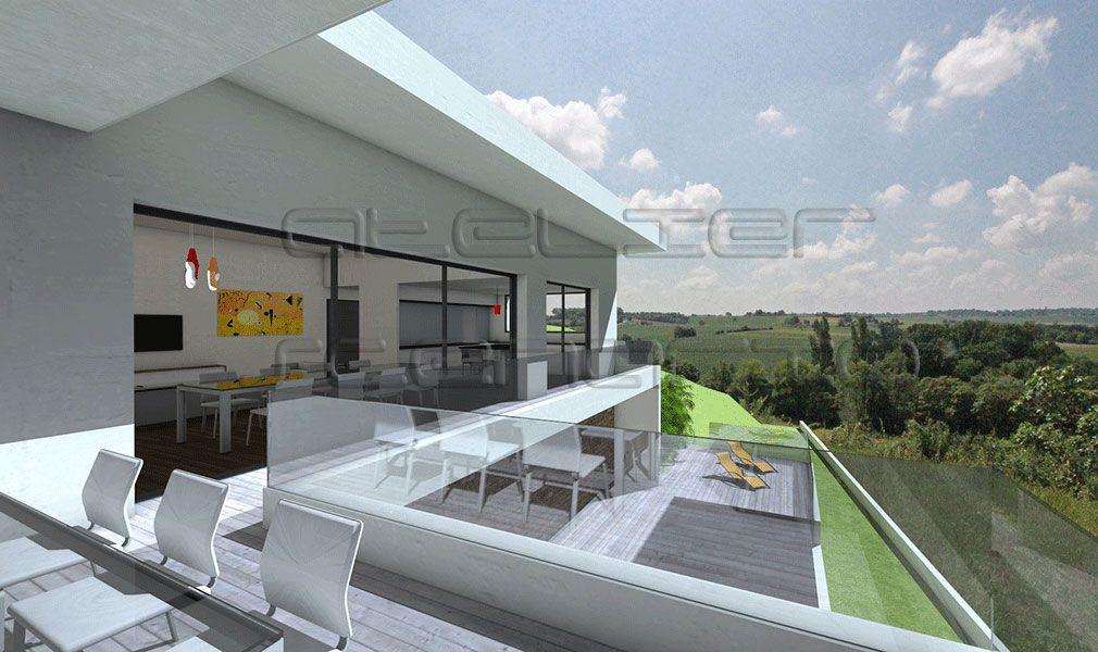 Plan Maison Architecte - Maison contemporaine à toit terrasse sur