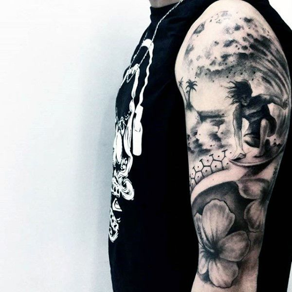 90 Surf Tattoos For Men Oceanic Design Ideas With Images