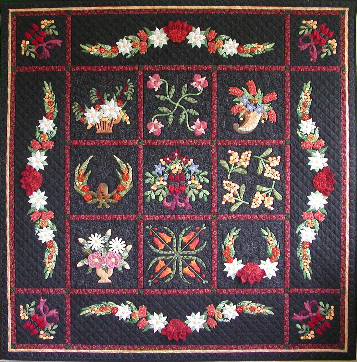 Flower quilt made by Eva Johansen DK