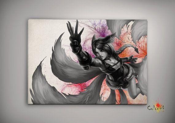 League of Legends LoL Ahri Watercolor illustrations Print Wall Art ...