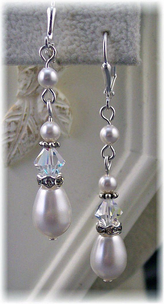 New Swarovski Crystal/ Pearl Teardrop Dangle by HisJewelsCreations, $24.00