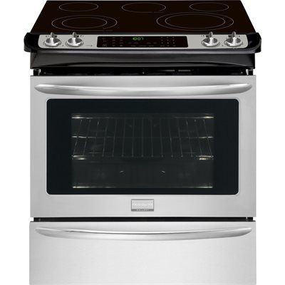 Frigidaire CGES3065PF Gallery Gallery 30-in Smooth Surface 5-Element 4.6-cu ft Slide-in Convection Electric Range (Smudge-Proof Stainless Steel)