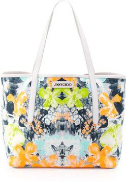 f92839faa394 Jimmy Choo Sara Medium Orchid-Print Tote Bag, White/Black on shopstyle .com.au