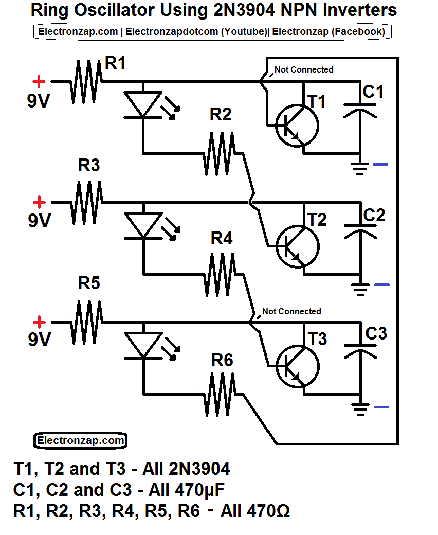 ring oscillator schematic using 3 2n3904 npn transistor inverter circuits