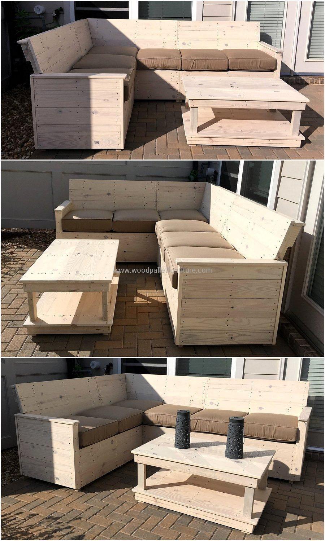 Wood Pallet L-shape Sofa Plan Outdoors