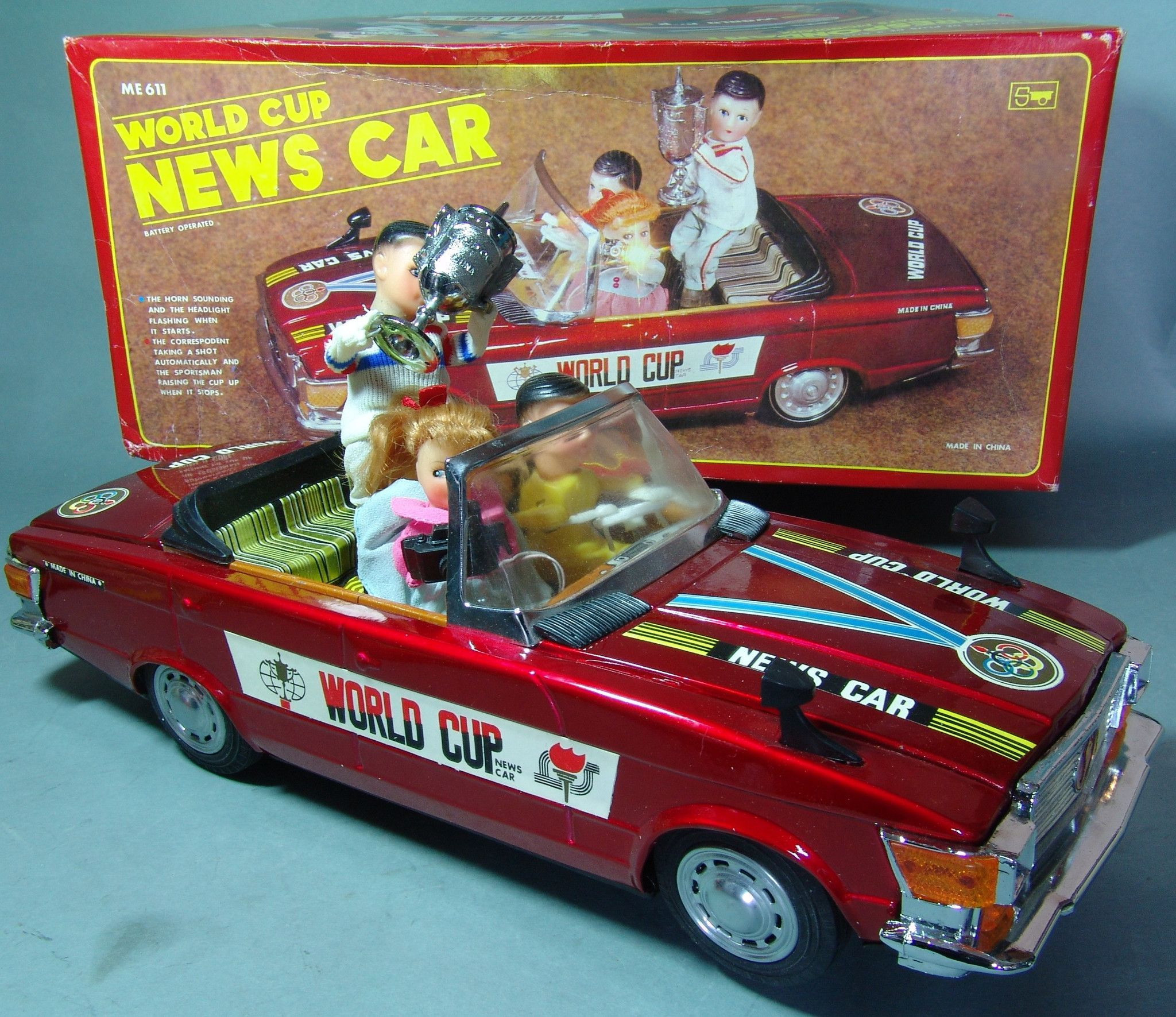1950 toys images  Vintage Battery Operated China World Cup News Car  Antique Toys