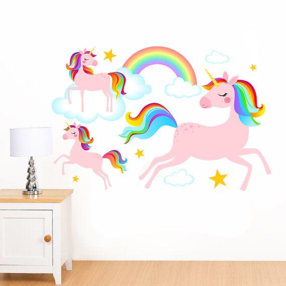 Best Dreamy Rainbow Unicorns Clouds Stars Mural Wall Sticker 640 x 480