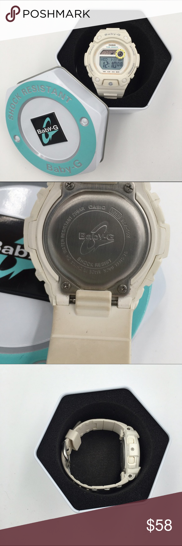 """Baby-G Sock Resistant Women's Watch G-Glide. White with nice orange lettering and blue lettering on the face as pictured.. Also has a yellow circle around the """"seconds"""" timer. I love the mild color combo. It gives it a hint of character. Great Used Condition, normal wear. Accessories Watches"""