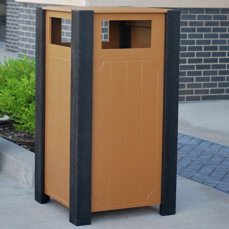 Jayhawk Plastics Frog Furnishings 32 Gallon Recycled Plastic Ridgeview Trash Receptacle - PB 32RIDCED