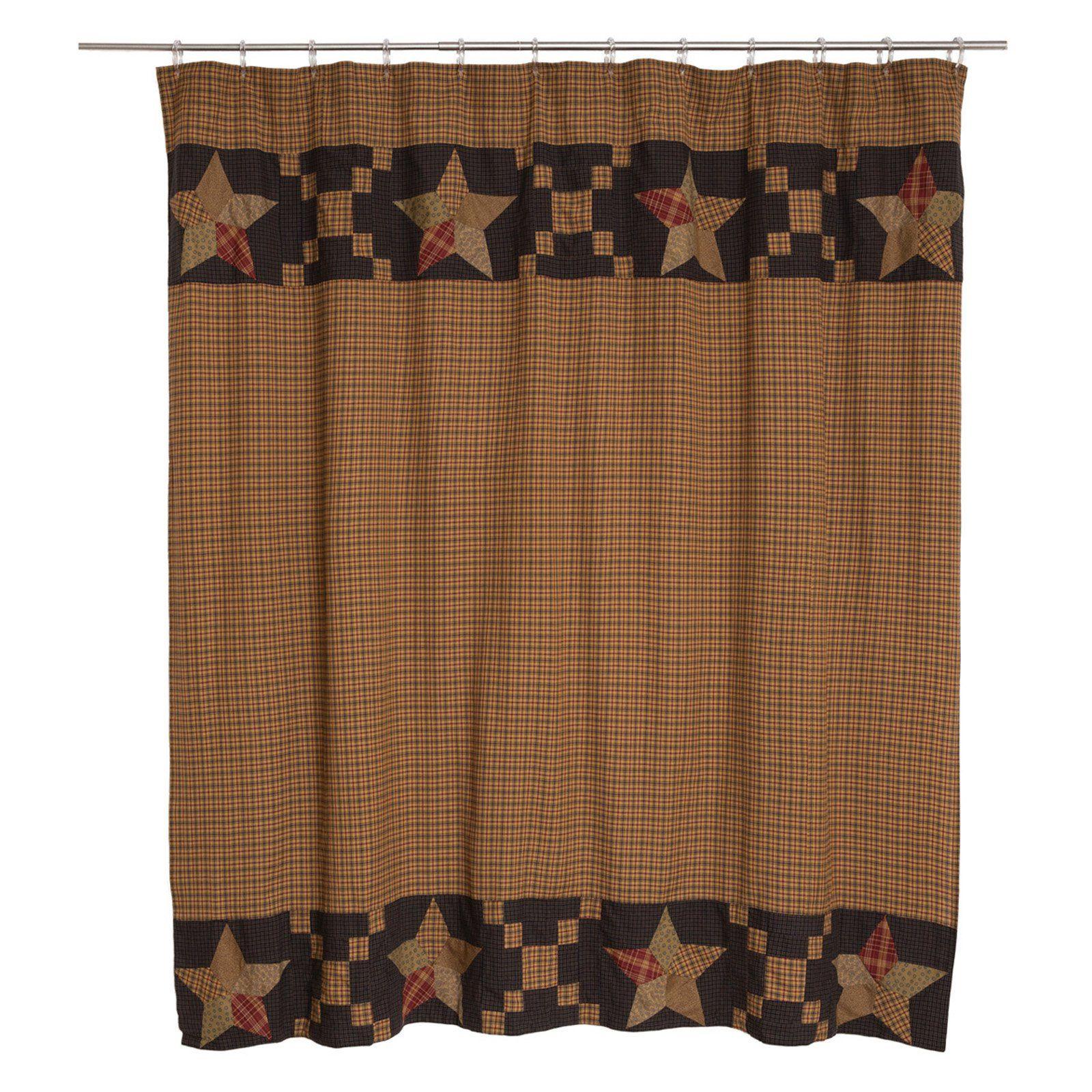 Vhc Arlington Shower Curtain Patchwork Star Border Primitive Bathrooms Fabric Shower Curtains Primitive Shower Curtains
