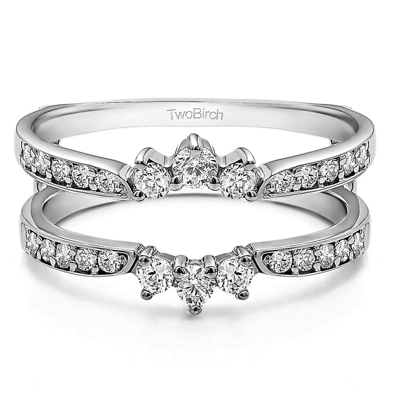 TwoBirch Sterling Silver Crown Inspired Half Halo Wedding