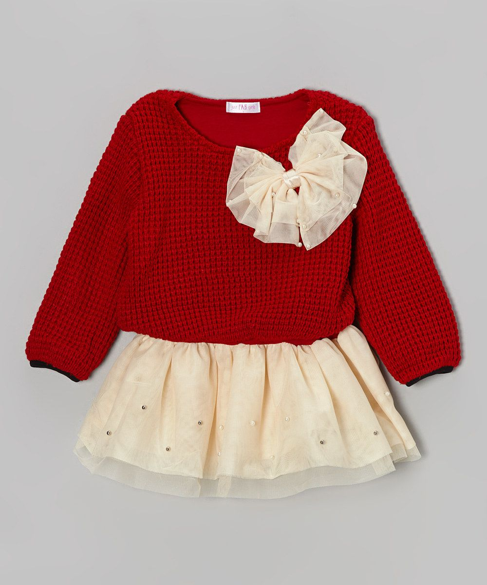 73db73ddd9b8 Loving this Just Fab Girls Red   Ivory Bow Sweater Tunic - Infant ...