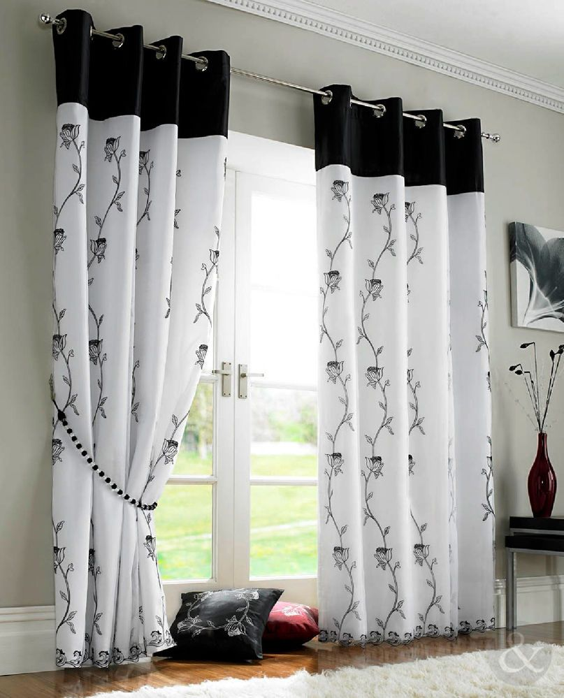 Black and white curtains - Details About Rose Lined Voile Panels Black White Eyelet Ring Top Ready Made Curtains