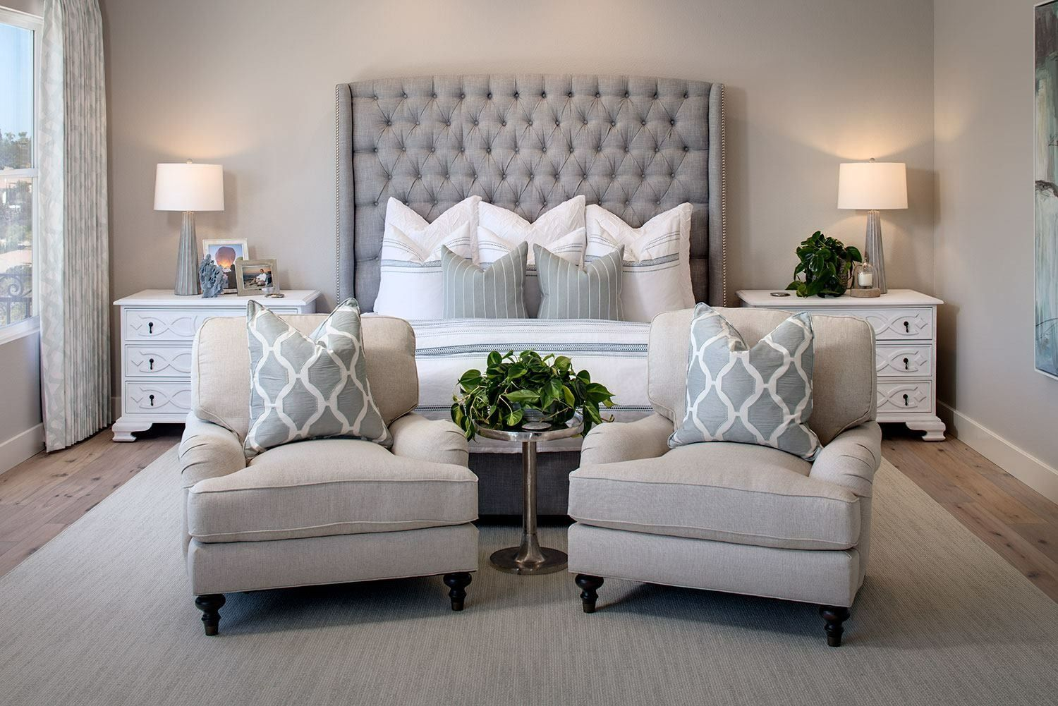 Tracy Lynn Studio  Master bedroom retreat.     Made possible with help from Spectra Home, Noir Furniture, Four Hands Home, and Kravet. Photo by Zack Benson Architectural Photography