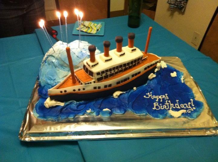 Titanic Fondant Covered Chocolate Chip Cake Ship And