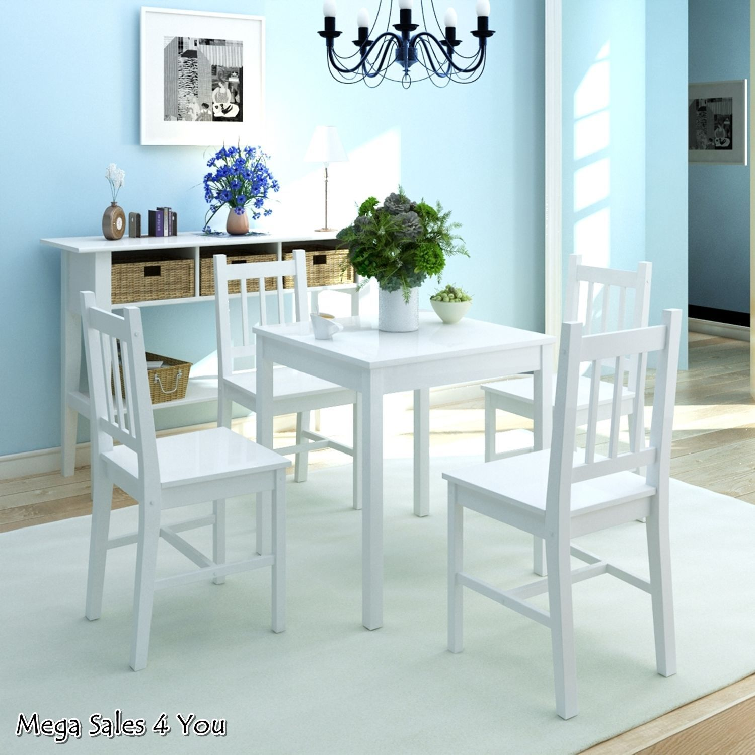 White Wooden Dining Set Square Table 4 Chairs Pine Wood ...