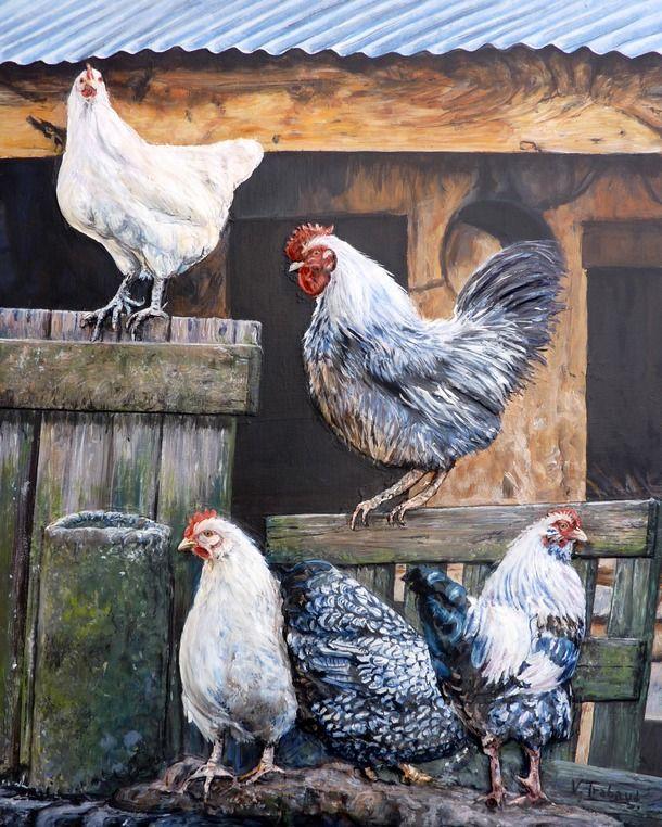 Peinture la ferme poules et coqs acrylique et sculpture en relief virginie trabaud for Peindre une baignoire en acrylique